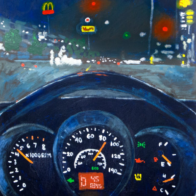Painting-While-Driving,-18x24-acrylic-on-panel