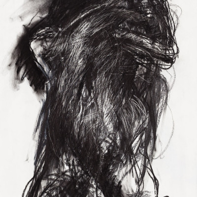 Don-Lewis,-'Woman-Clutching-Her-Breasts',-1991,-charcoal,-graphite,-acrylic-on-paper,-18'x24'