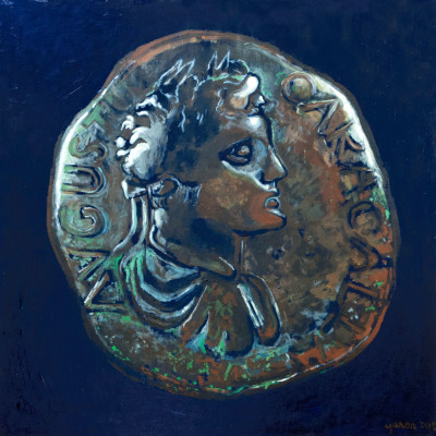 Caracalla-(coin)-24x24-acrylic-on-panel