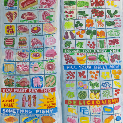 "Enough-for-Every-One-(supermarket-flyer)-32x24""-acrylic-on-panel"